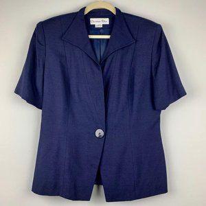 Vintage Christian Dior Navy Blue Blazer Sz 12